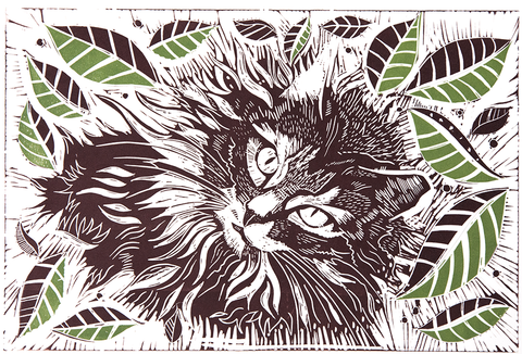 Linocut – Smokey the Cat
