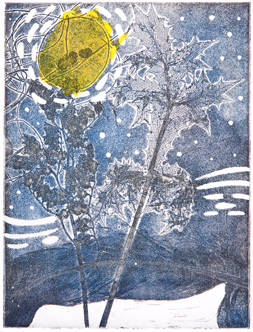 Etching with Chine-Collé – Starry Night