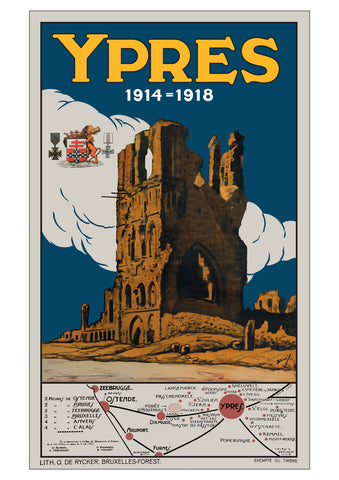 Ypres Cloth Hall 1914-18 WW1 Print