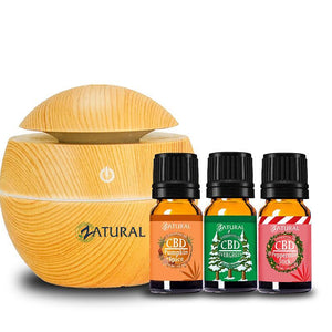 Zatural.com Aromatherapy Wood Holiday CBD Essential Oil Set With Diffuser
