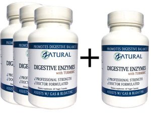 Zatural.com Health and Wellness BUY 3 GET ONE FREE! Digestive Enzymes + Turmeric Curcumin