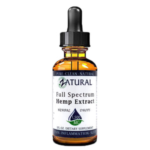Zatural.com Health and Wellness Natural / 1 Ounce 1,500mg 5X Strength (50mg/Serving) Full Spectrum Hemp Extract Drops