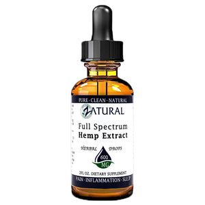 Zatural.com Health and Wellness Natural / 2 Ounce 600mg (10mg/Serving) Full Spectrum Hemp Extract Drops