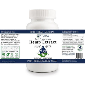 Zatural.com Multi-Purpose Hemp Extract Full Spectrum SoftGels
