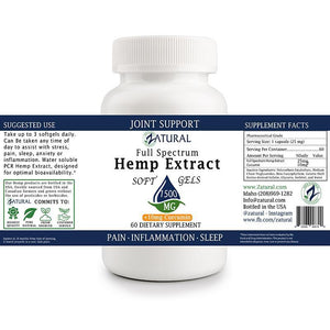 Zatural.com Multi-Purpose Hemp Extract SoftGels With Curcumin