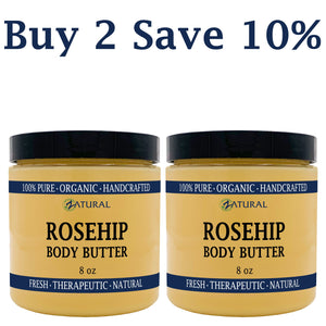 Zatural.com Therapeutic Skin Care 2 Pack SAVE 10% Organic Rosehip Seed Butter + Virgin Shea