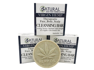 Zatural.com Therapeutic Skin Care 3 pack Organic Soap w/ Hemp Seed Oil