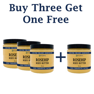 Zatural.com Therapeutic Skin Care Buy 3 Get 1 FREE Organic Rosehip Seed Butter + Virgin Shea