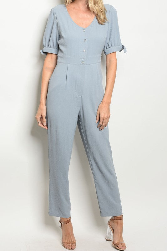 Blue Button Jumpsuit