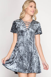 Crushed Velvet A-Line Dress