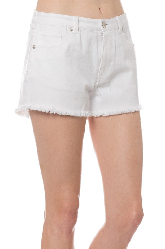 White Frayed Cut Off Shorts