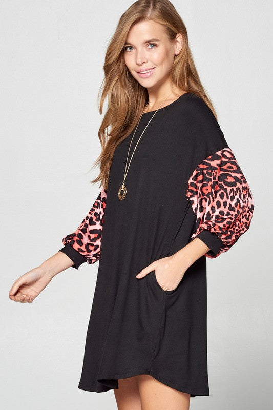 Leopard Balloon Sleeve Dress