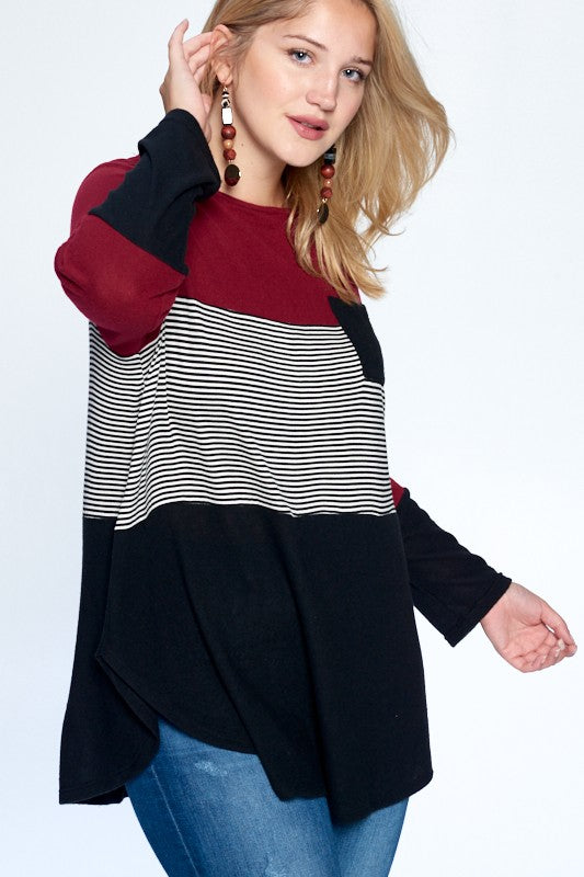 Curvy Pocket Colorblock Top