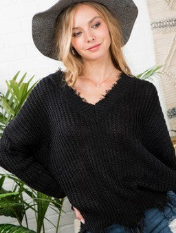 Curvy Frayed Sweater