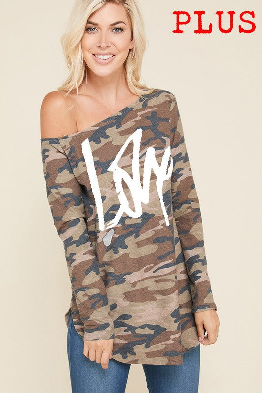 Graphic Camo Dip Shoulder