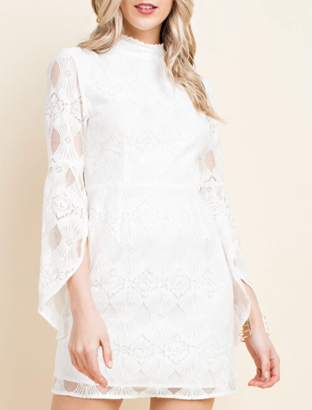 White Angel Sleeve High-Neck Mini Dress