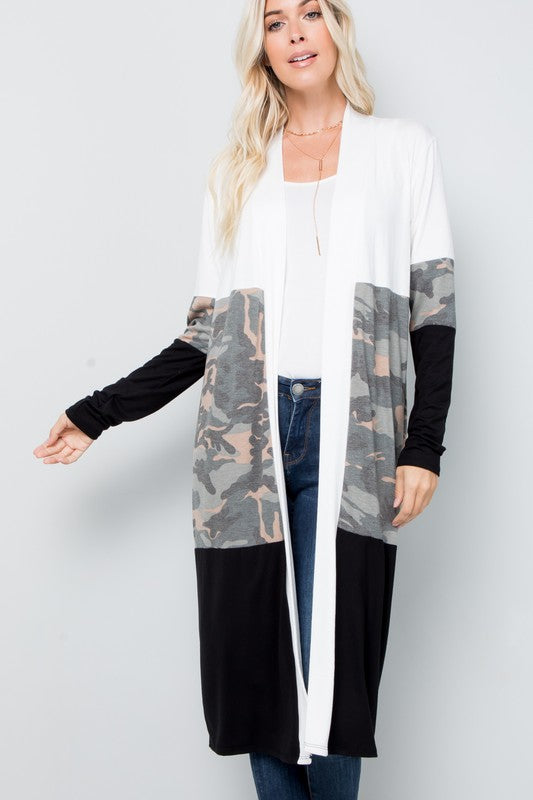 Camo Color Block Cardigan