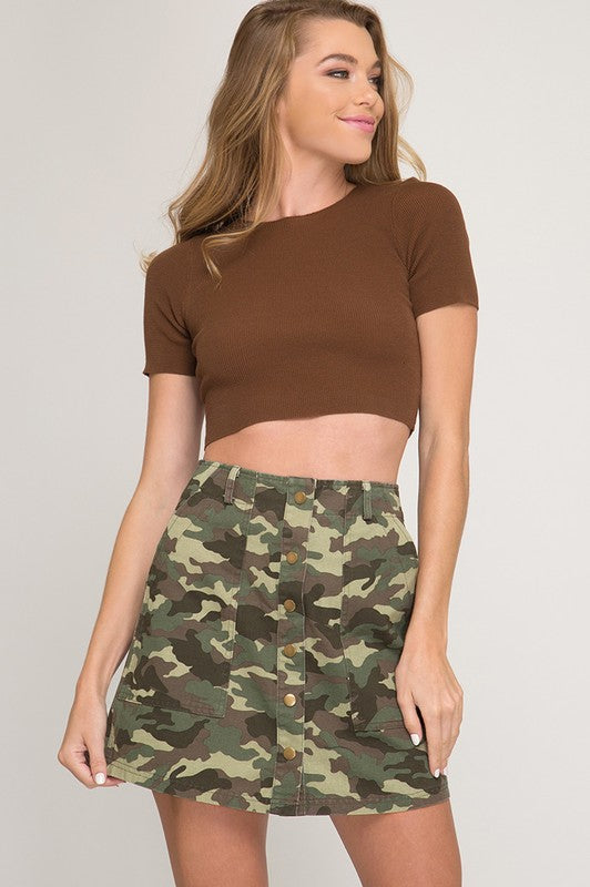 Button Down Camo Skirt