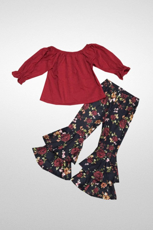 Floral Bell Bottom Pant Set