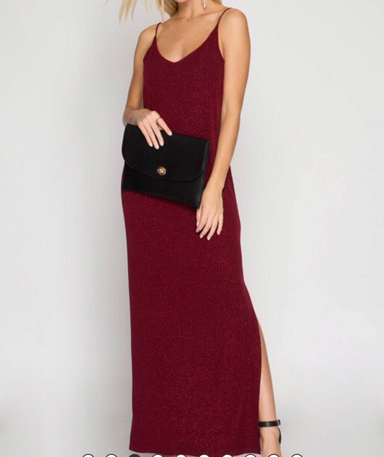 Wine Dress with Slit