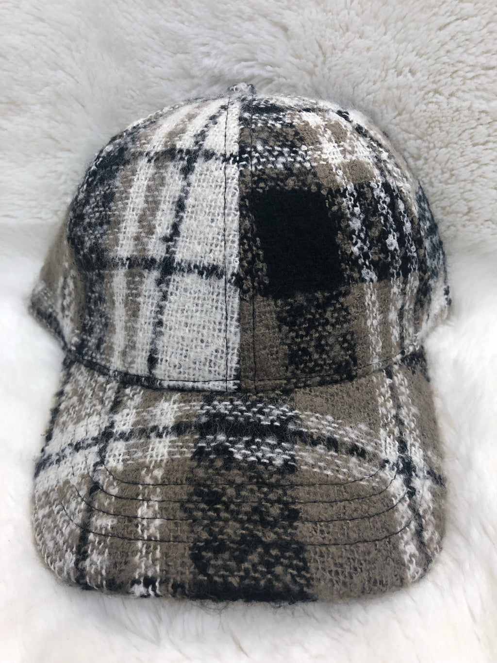 Fuzzy Plaid Cap