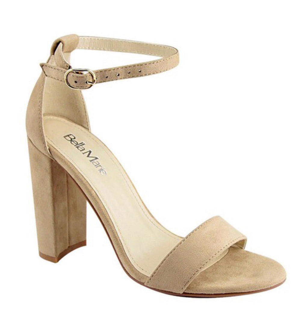 Taupe Ankle Strap Heels