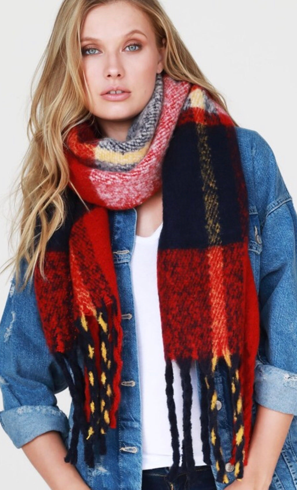 Brushed Chunky Plaid Scarf with Tassels