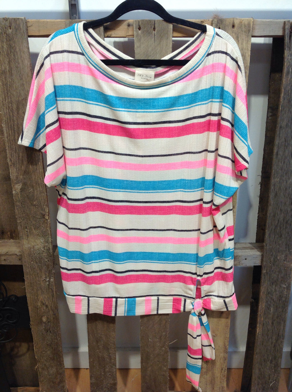 Curvy Neon Striped Top