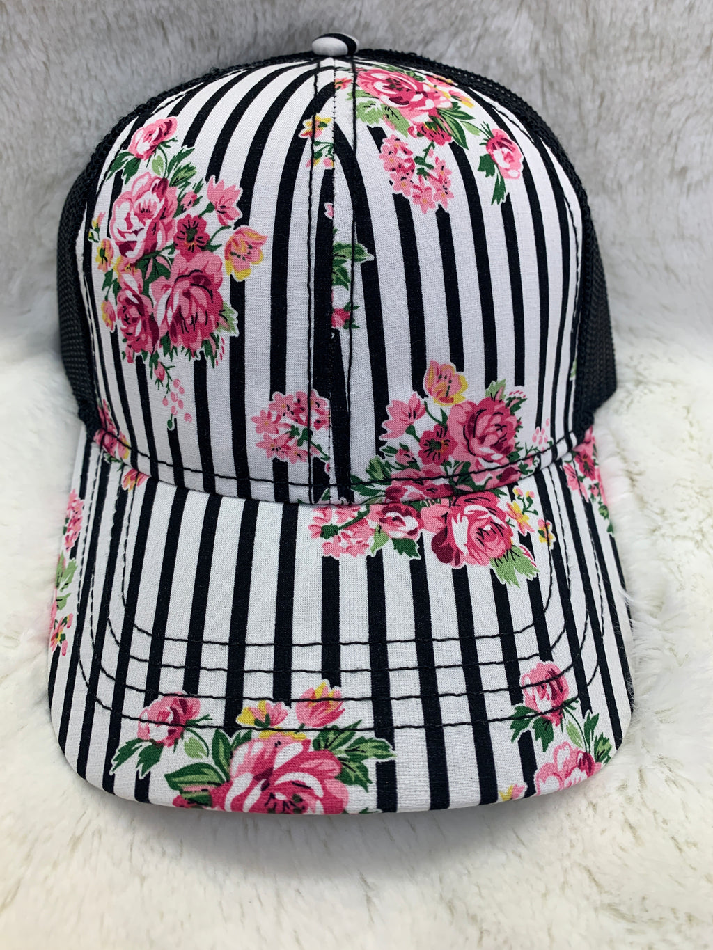 Floral Striped Ball Cap