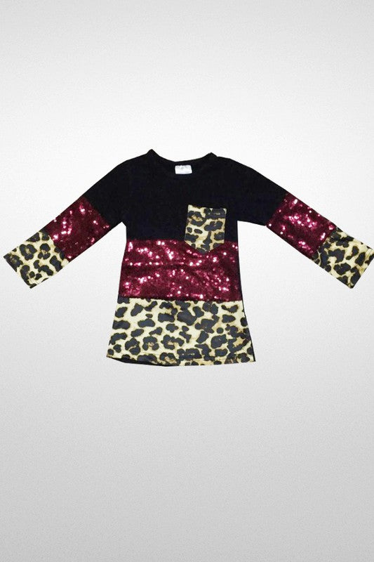 Kid's Cheetah Sequin Top