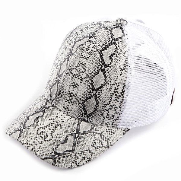 Faux Leather Snakeskin Hat