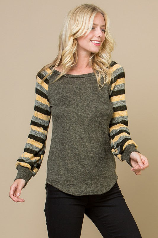 Curvy Striped Raglan Top