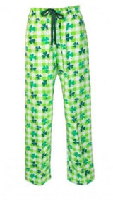 "Overstock Boxercraft flannel shamrock pants embroidered with an ""M"""