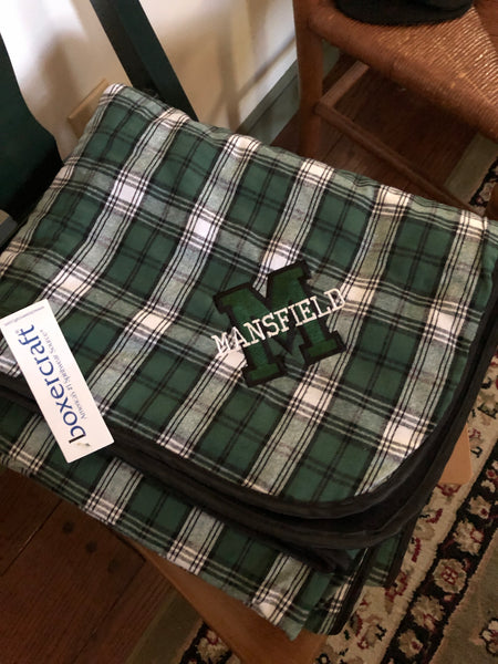 Mansfield Green and White Flannel Blanket with logo