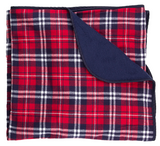 Saints Red and Navy Flannel Blanket with logo
