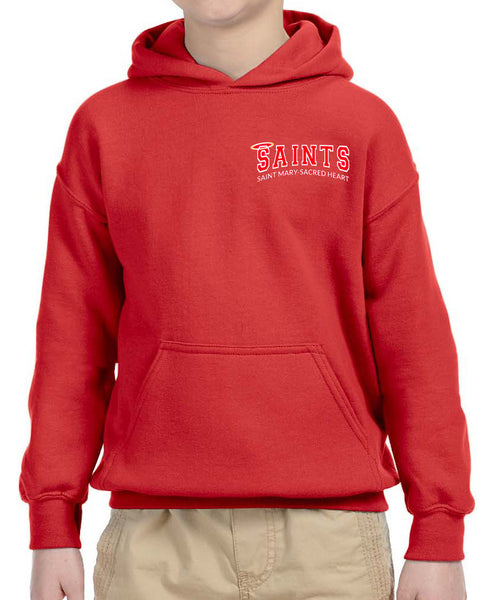 SAINTS Uniform Approved - Youth and Adult Pullover Hoodie with Saints logo in Red with personalization