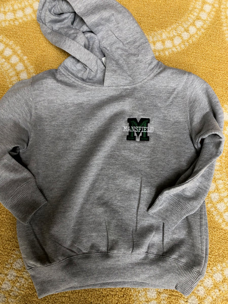 Mansfield Logo Youth and Adult Pullover Hoodie with sleeve personalization