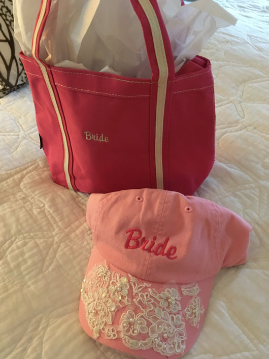Bridal canvas tote and cap set