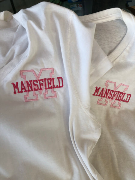 Pink Mansfield logo on ladies tee