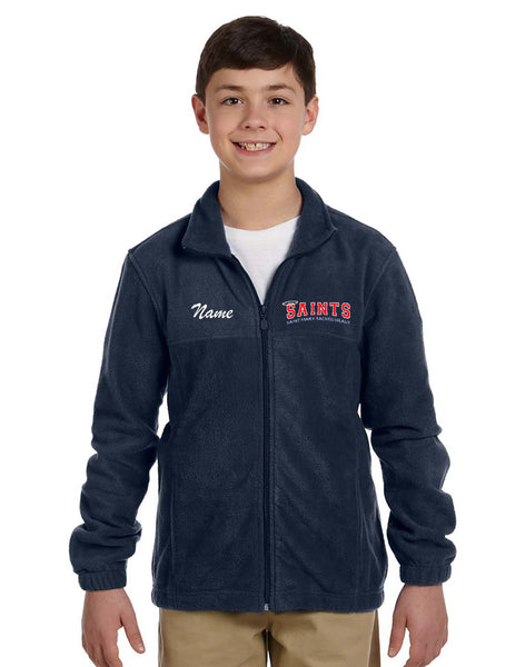 Saints Uniform Approved - Cool Weather Option  Harriton 8 oz. Full-Zip Fleece Navy with SAINTS logo and optional personalization