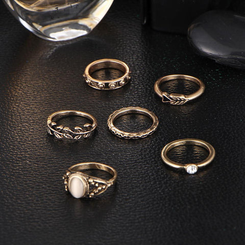 6pc Gold Boho Ring Set