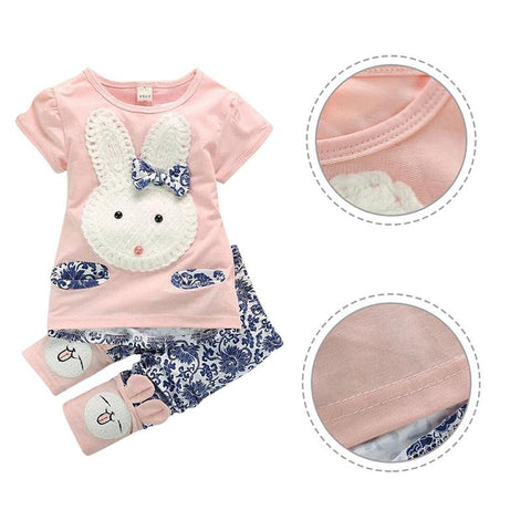 Gorgeous Cute Rabbit Cartoon Top and Short Toddler Summer Outfit