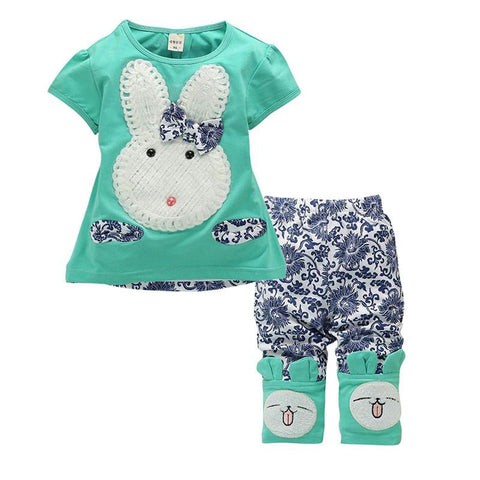 Wonderful Cute Rabbit Cartoon Top and Short Toddler Summer Outfit