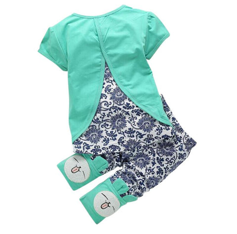 Lovely Cute Rabbit Cartoon Top and Short Toddler Summer Outfit