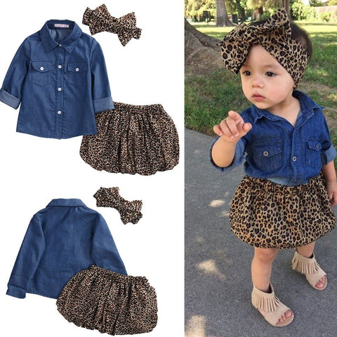 Toddler Leopard Denim Summer Outfit Gifthap