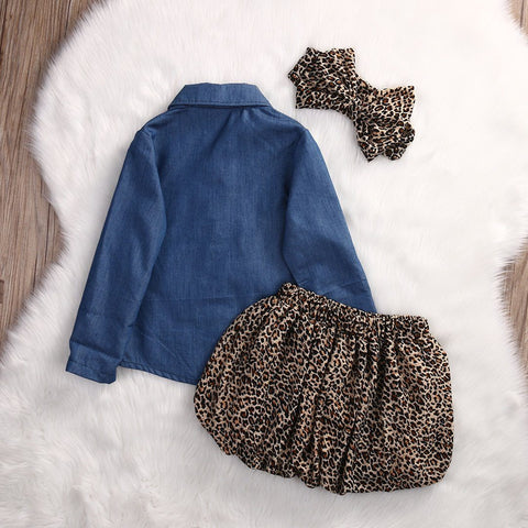 Gorgeous Toddler Leopard Denim Summer Outfit