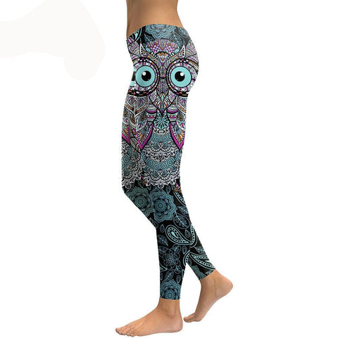 Cool Owl 3D Printed Flower Fitness Leggings