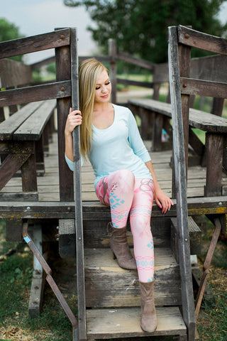 Pink Buck Boho Leggings