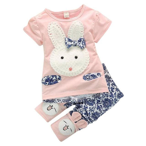 Cool Cute Rabbit Cartoon Top and Short Toddler Summer Outfit