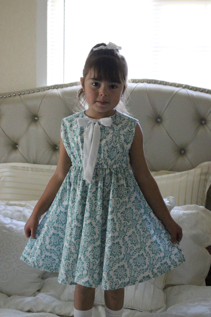Emma Dress | White & Teal | White Bow